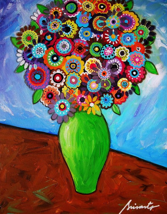 Mexican Folk Art Flowers Vase Blooms Florals Pristine Art For