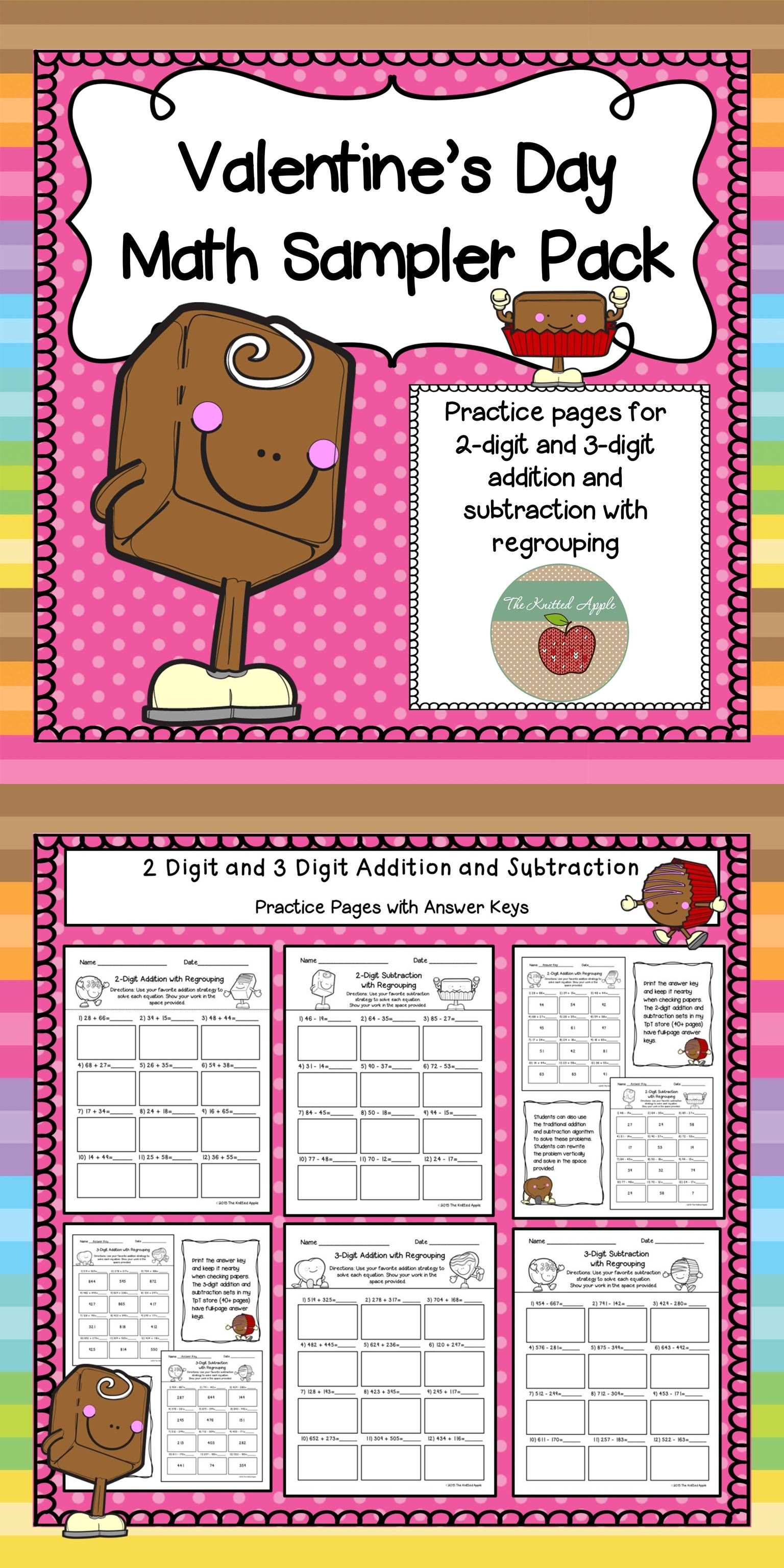 Addition And Subtraction With Regrouping Valentine S Day Theme