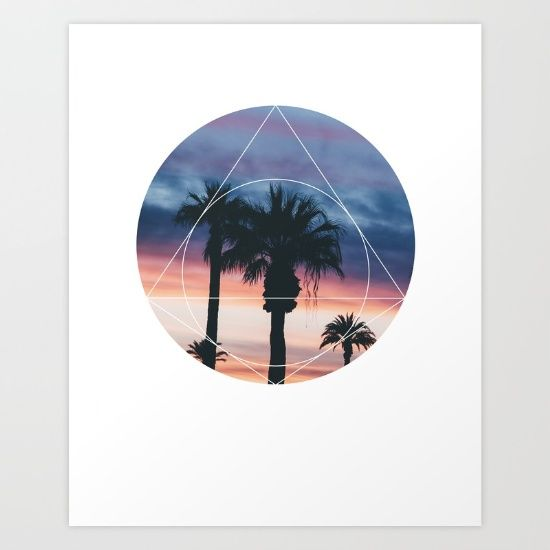 Sunset Palms Art Print - Inspirational Colorful Sky Wall Art, Warm Colors Sunshine Beach Geometric Photography Art, Printable Pyramid Poster  Sunset Palms. This eye-catching design will make anybody pause for a second and reflect.  Art & Collectibles, Prints, Digital Prints, digital art print, printable wall art, quote poster print, canvas quote art, inspirational art, palm trees art, sacred geometry art, geometric shapes art, forrest nature print, sunshine warm poster, palm photography
