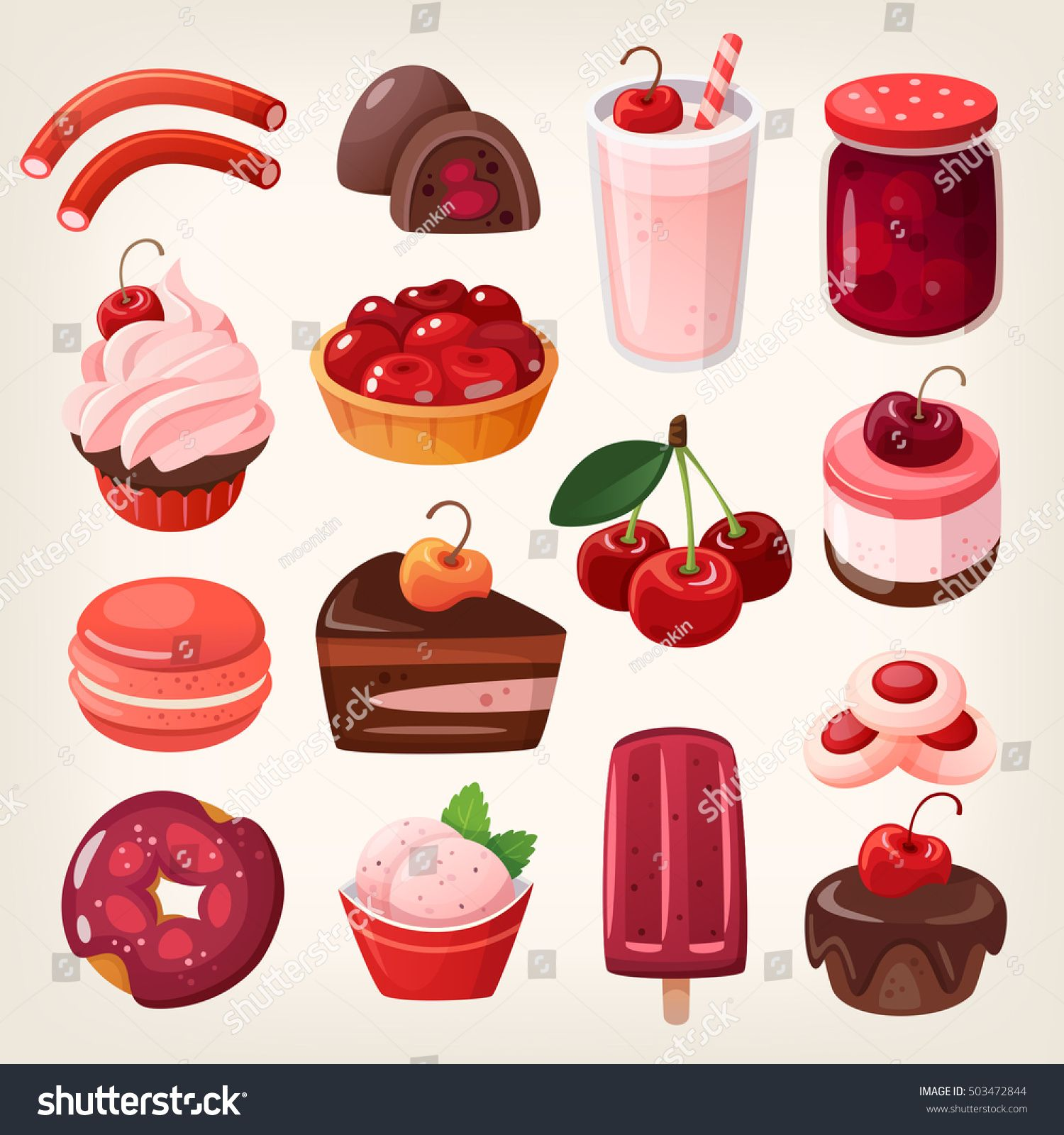 Set of delicious fruit sweets and desserts. Cherry