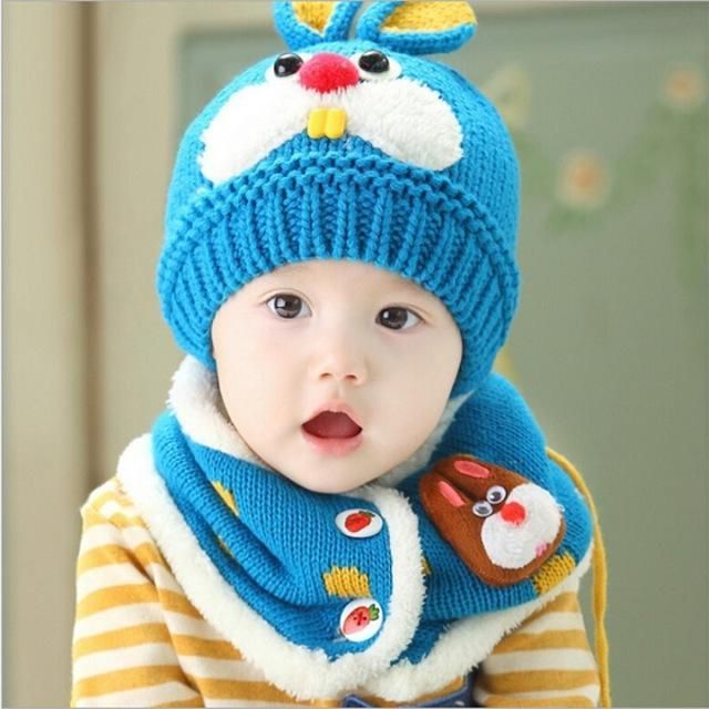 f2c4712f3ebcb 2017 hot sale Baby Winter Hat Set with Scarf Neck Warmer cute Rabbit Cap  for Boys Girls Kids Children thick velvet warm snow cap