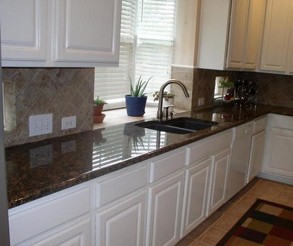 White Kitchen Cabinets Brown Tile Floor: Brown Granite Countertops, Brown Granite