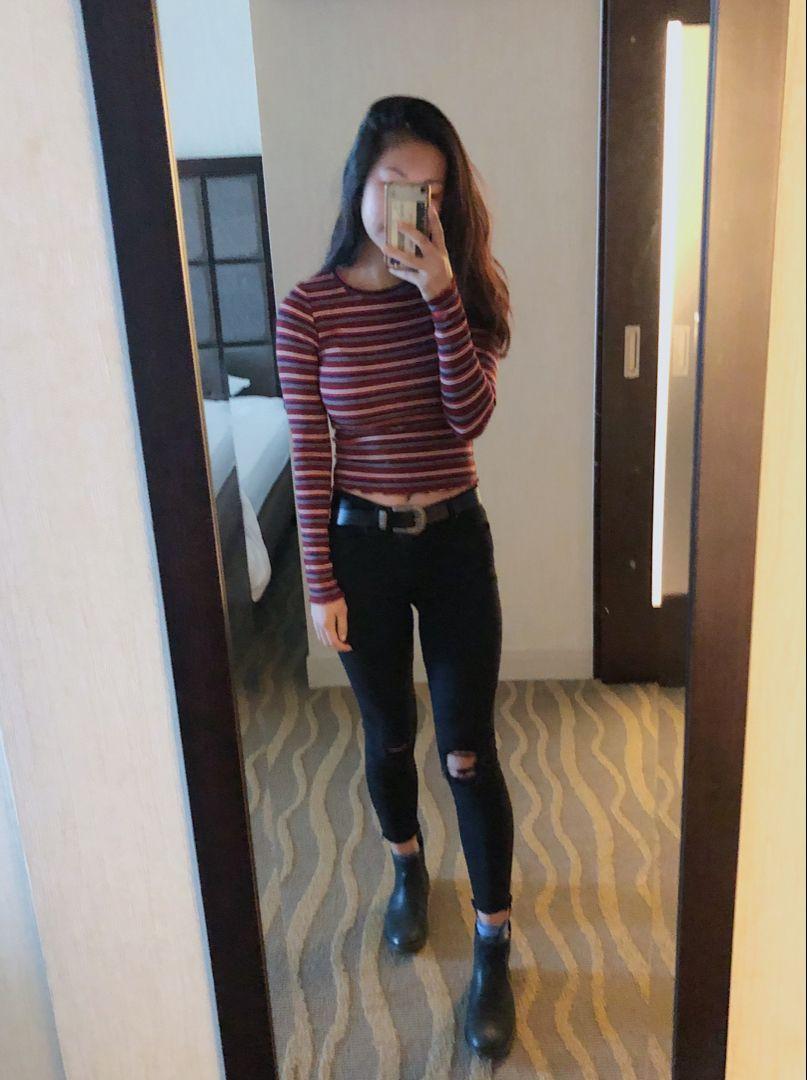 Striped Long Sleeve Ripped Black Jeans Western Belt Chelsea