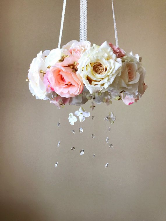Floral mobile, Baby mobile, Flower mobile with genuine Swarovski crystals / Crib mobile, Cot mobile, Wedding chandelier, Rose gold nursery