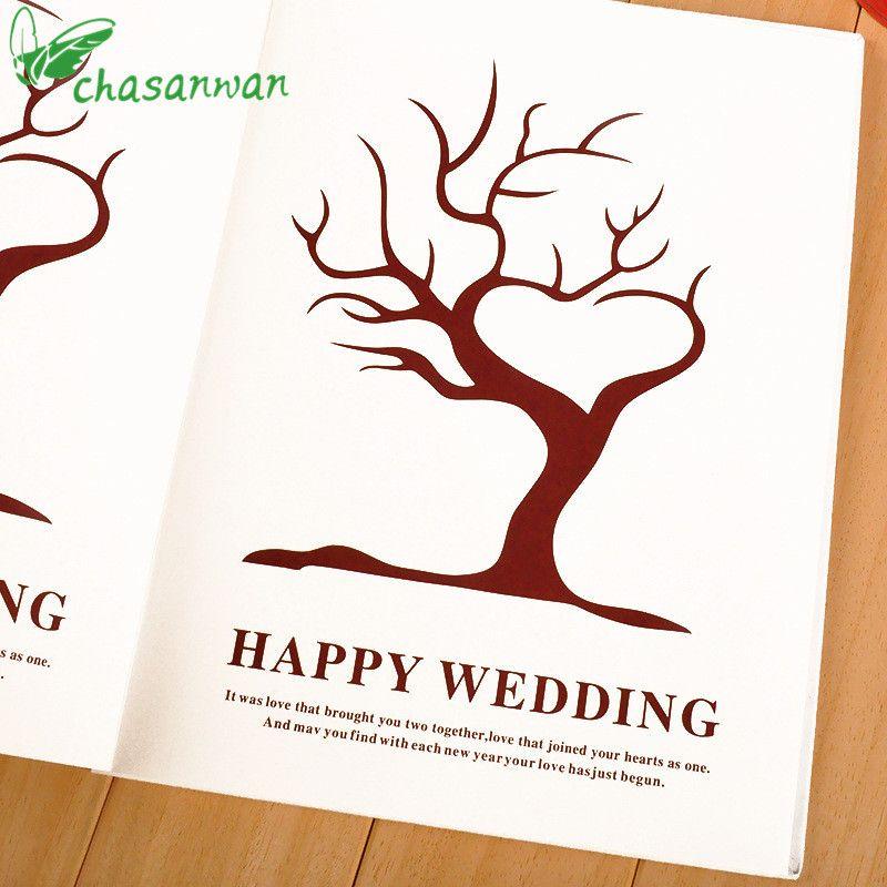 European Love Letter Fashion Fingerprints Sign The Tree Wedding List Guest Book