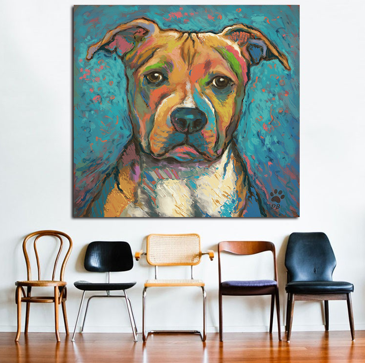 Pitbull Wall Art pit bull abstract wall oil painting print on canvas – dogsbuzz