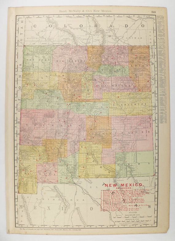 New Mexico Map 1903 Southwestern Decor NM Wall Map Vintage Map