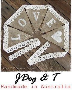 New burlap hessian crochet lace bunting love country vintage new burlap hessian crochet lace bunting love country vintage wedding decorations ebay junglespirit Images
