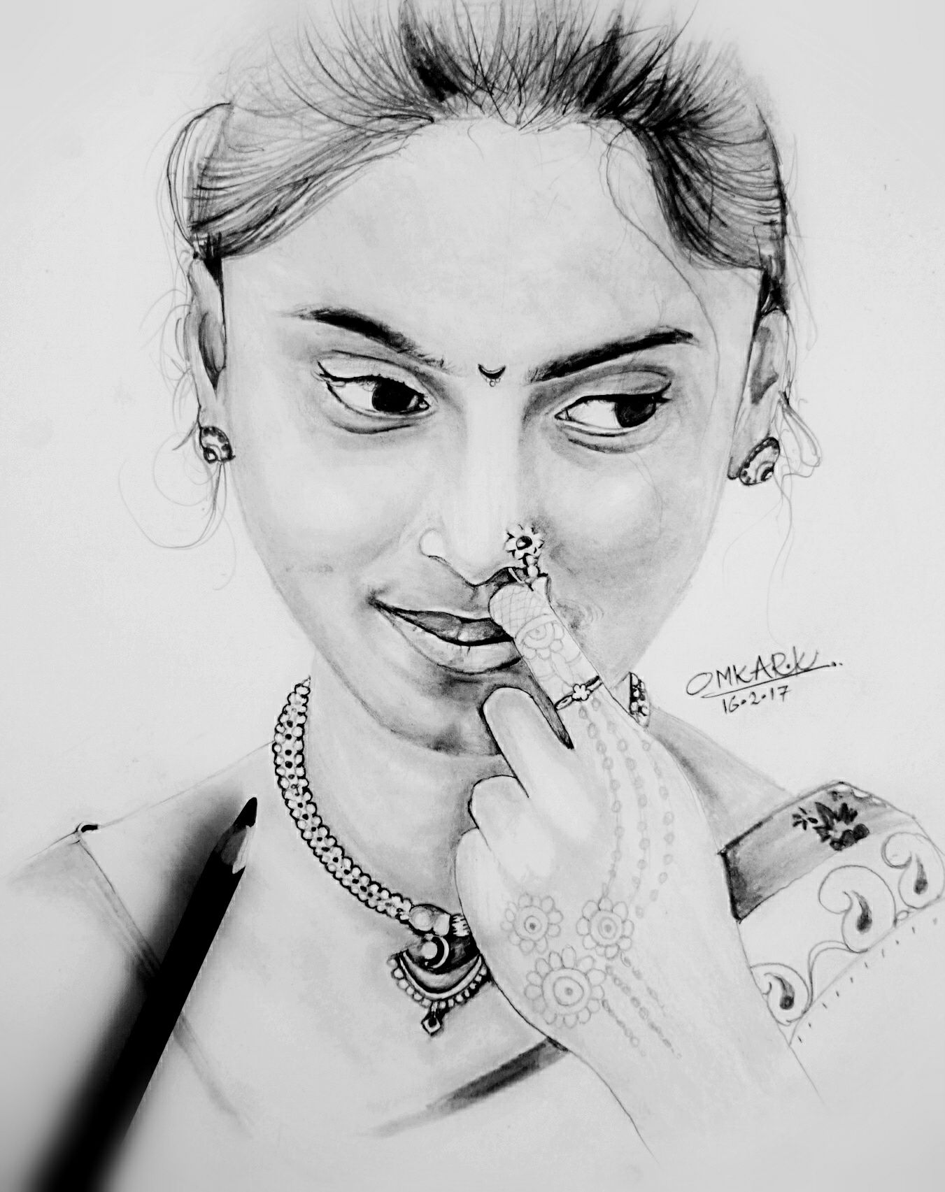 Pencil Drawing Of Beautiful Traditional Girl
