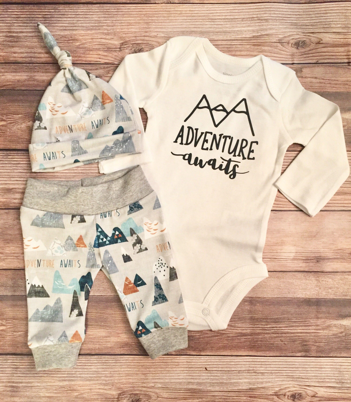 8b61285d6 Adventure Awaits Newborn Boy Coming Home Outfit, Newborn Outfit, Baby Boy  Outfit, Boy