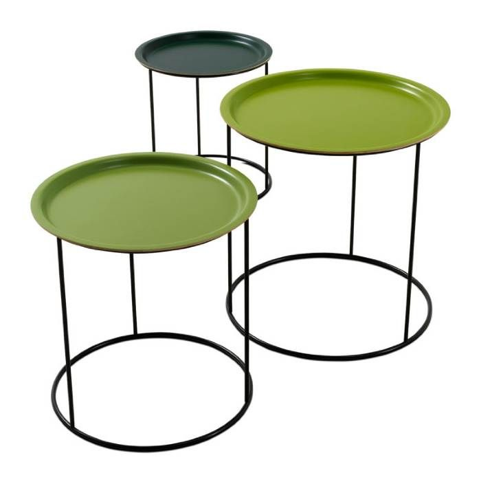 Stacking Nesting Snack Tables In Three Tones Of Green Lacquer Funner Than All White Or Black One Color Occa By Boconcept Denmark