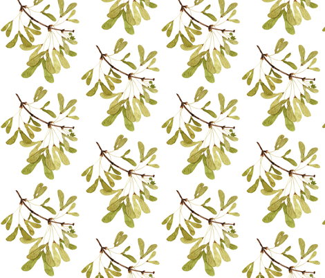 Winged Maple Seeds - Woodland Collection fabric by gollybard on Spoonflower - custom fabric