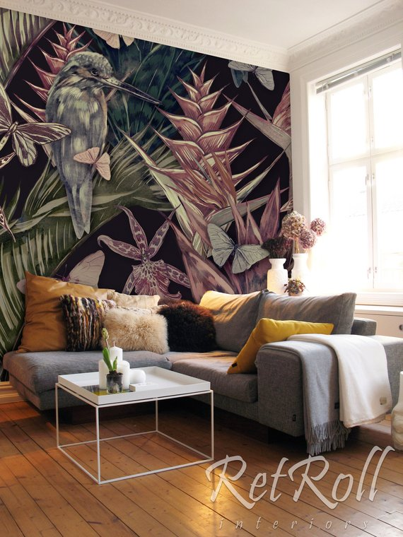 Tropical Wildlife Removable Wallpaper Design Wall Etsy Room Decor Decor Living Room Decor #removable #wallpaper #living #room