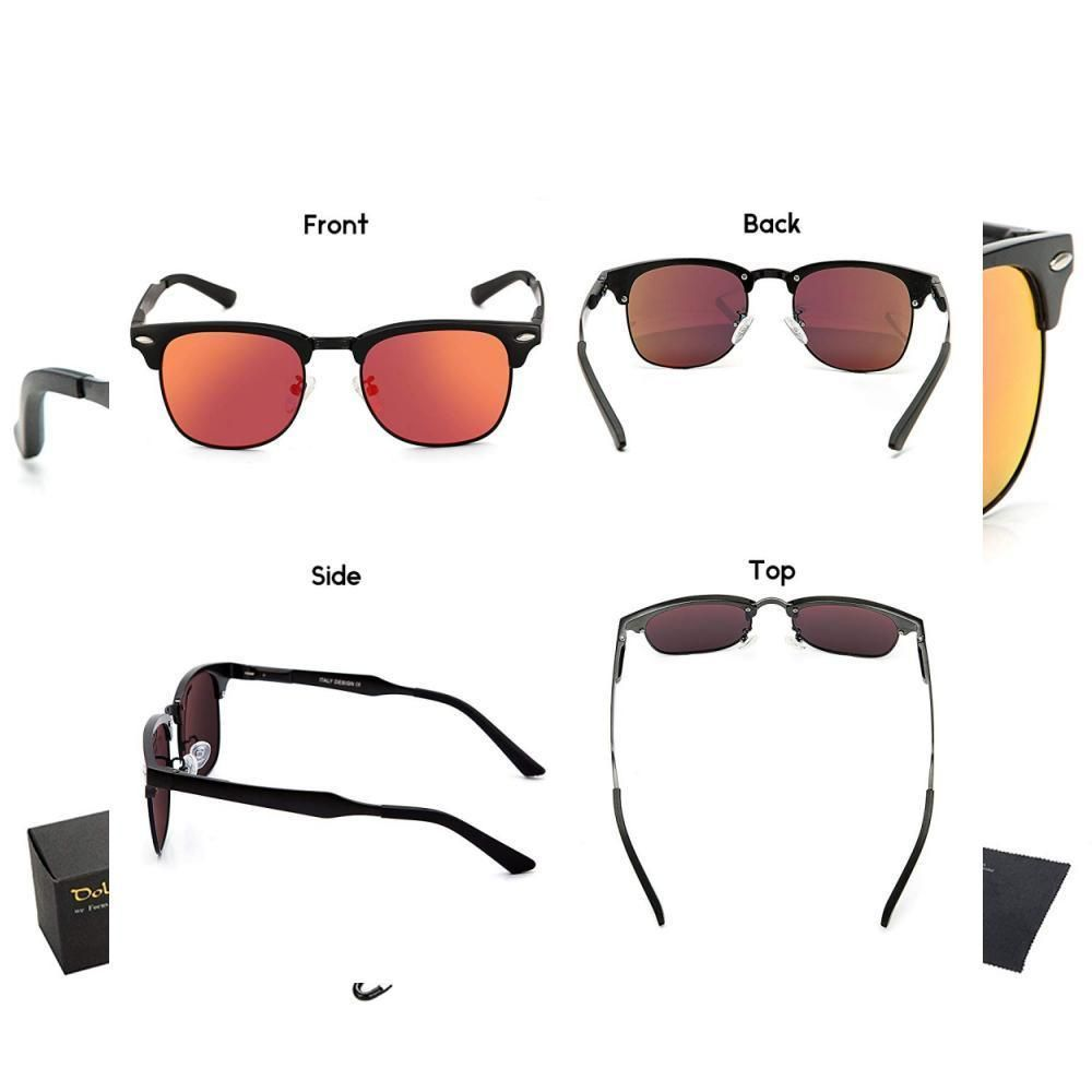 8e3db59a0d Dollger Classic Polarized Clubmaster Sunglasses Horn Rimmed Half Frame   fashion  clothing  shoes