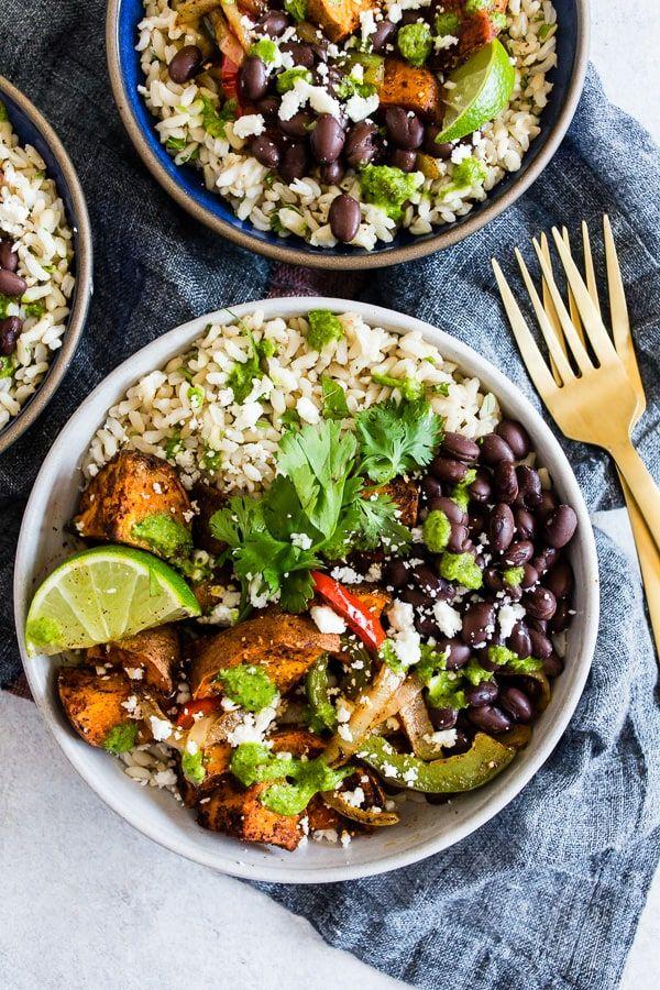 These sweet potato black bean burrito bowls are the ...