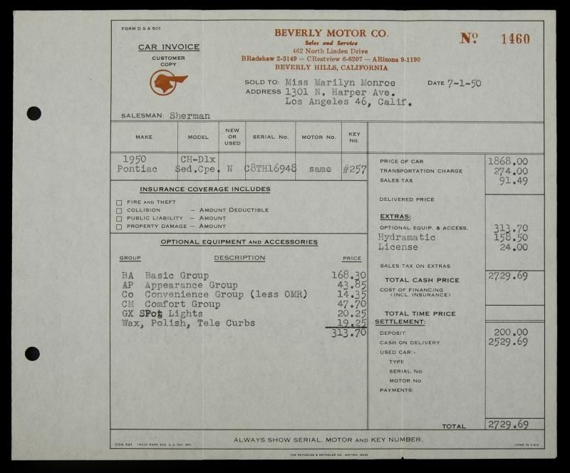 A customer copy of an invoice from Beverly Motor Co of Beverly - invoice copy
