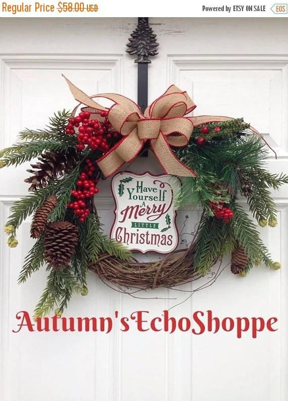 on sale rustic christmas decor door wreathmerry christmas door decor wreath seasonal decor wreath country decor inspired - Rustic Christmas Decor For Sale