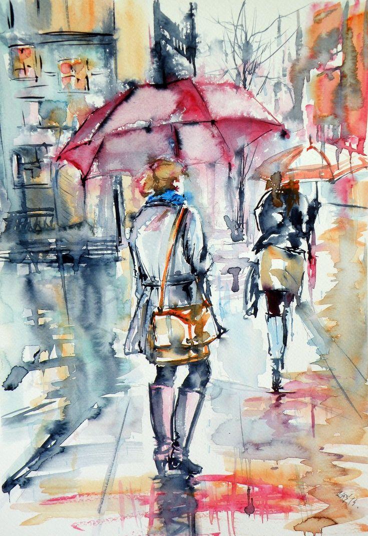 Artfinder Walk In Rain By Kovacs Anna Brigitta Original