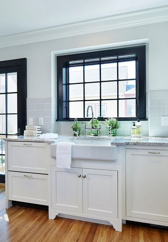 Looks To Love 50 Farmhouse Sinks Design Asylum Blog By Kellie Smith Black Window Trims Black Window Frames Painting Vinyl Windows