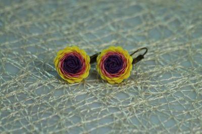 Kvetinkové náušnice farebné slnečnice