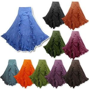 BOHO-HIPPY-GYPSY-COTTON-CRINKLE-LONG-SKIRT-NG2X-many-colours-to-choose