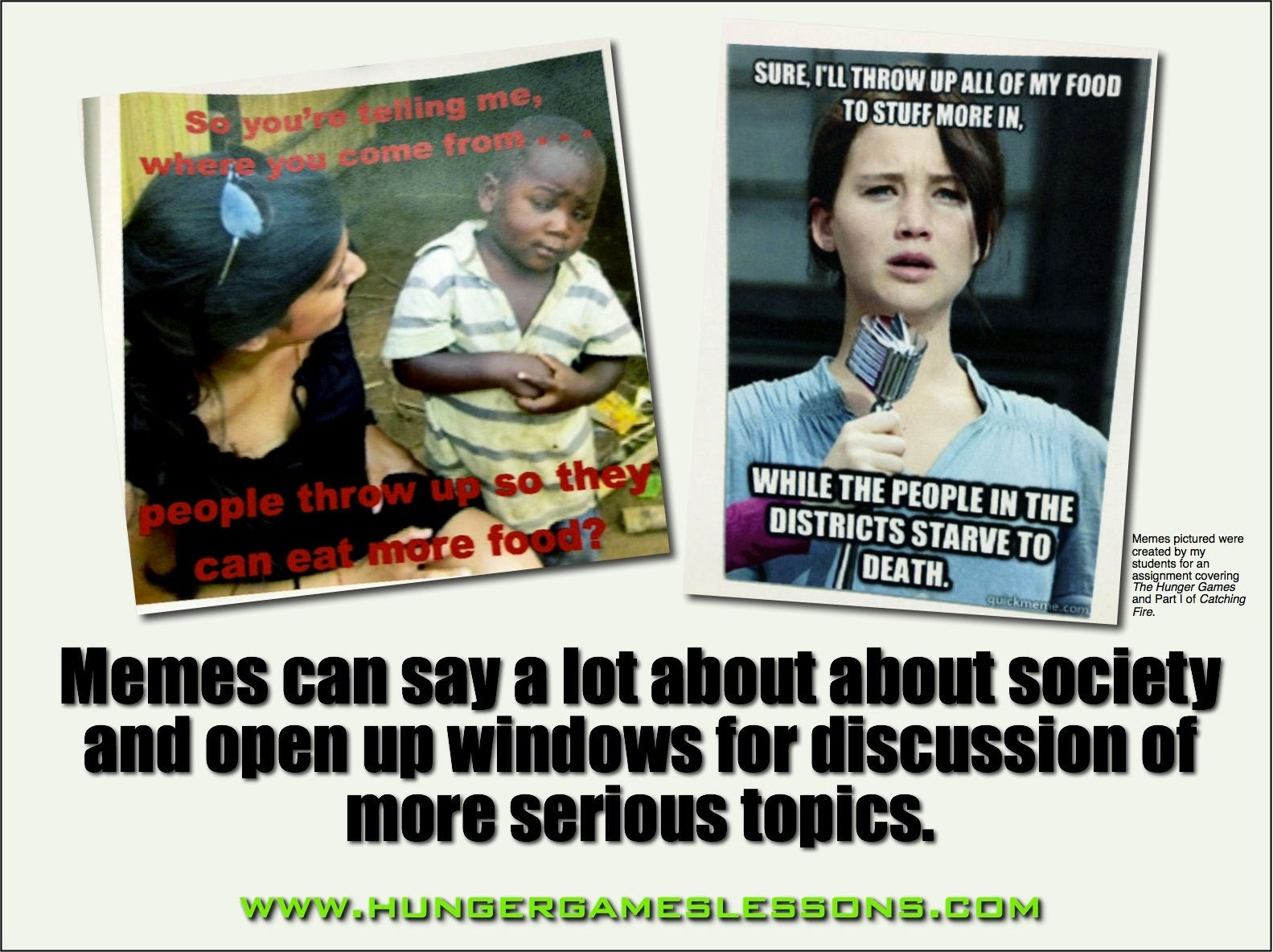 Hunger Games Lessons Meme Assignment Your Students Will Love Teacher Memes Teaching Activities For Teens