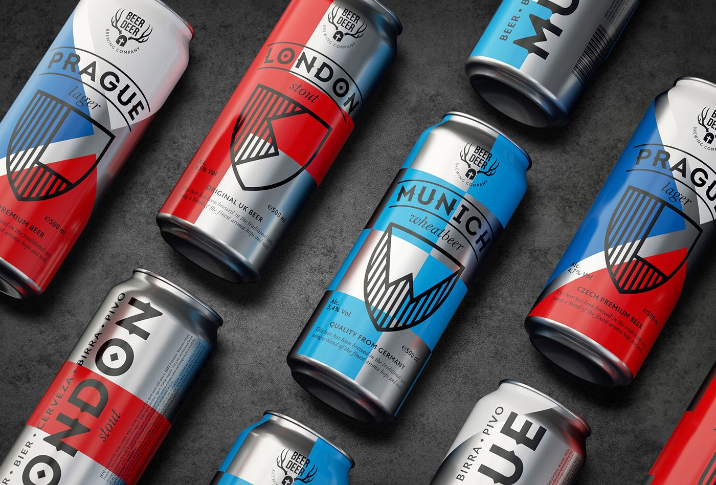 Shields And Stylized Flags For Beer Deer Logo And Packaging