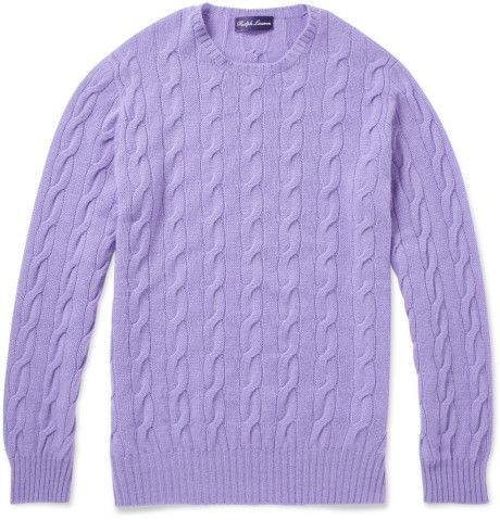 Men's Purple Cable Knit Cashmere Sweater | Cable knitting ...