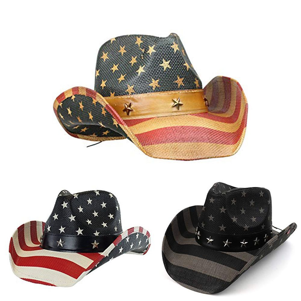 1cb6c7b0 Men's Vintage Tea-Stained USA American Flag Shape-It Brim Cowboy Hat ...
