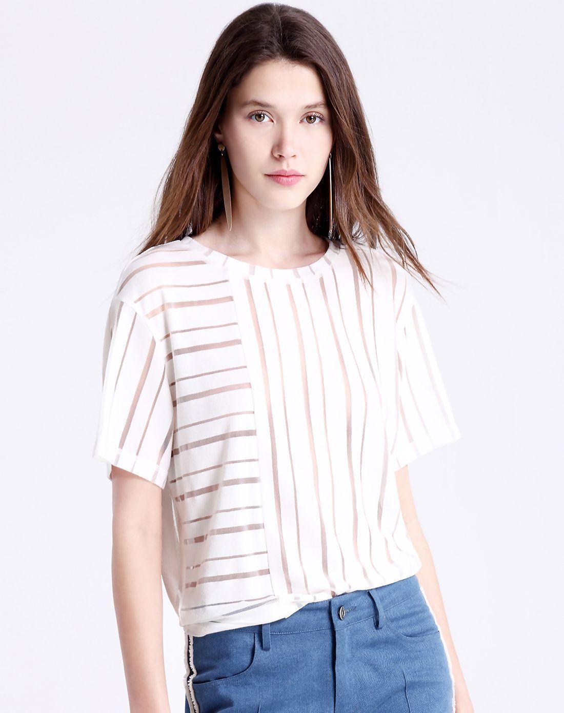 #AdoreWe #VIPme Blouses & Shirts❤️Designer Moonbasa White Simple Short Sleeve Round Neck Batwing T Shirt - AdoreWe.com