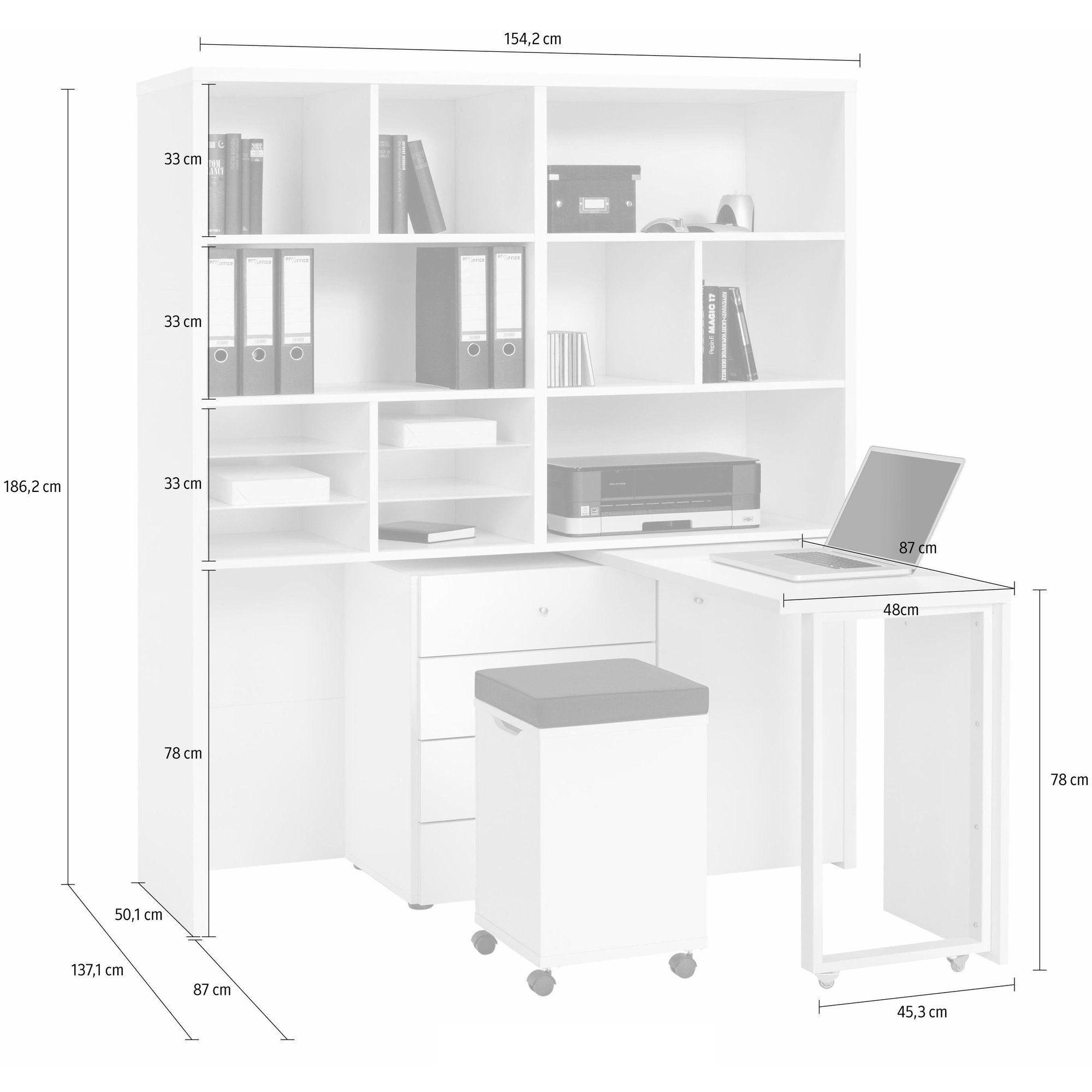 Bureau multimdia combin bureau bloc tiroirs et tabouret