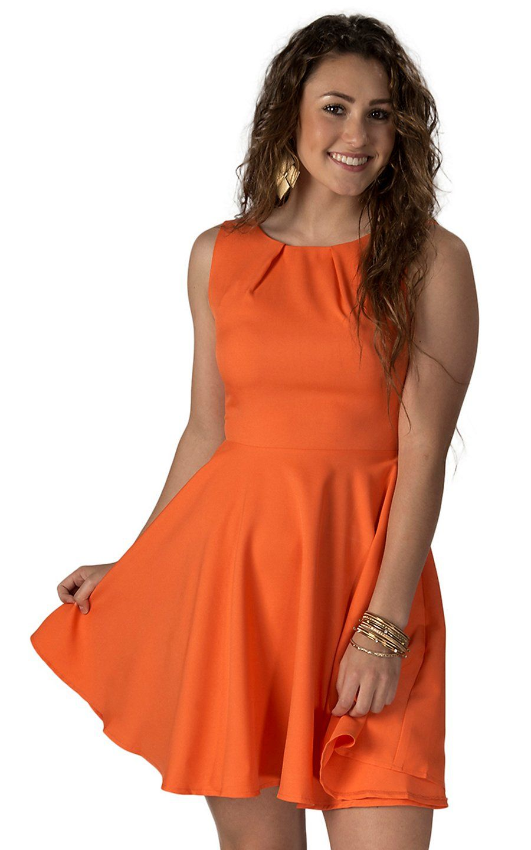 Double Zero Women S Orange Sleeveless Pocketed Dress Cowgirl Dresses Country Western Dresses Dresses [ 1440 x 900 Pixel ]