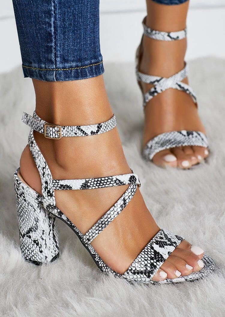 Snake Skin Round Toe Heeled Sandals – Light Grey