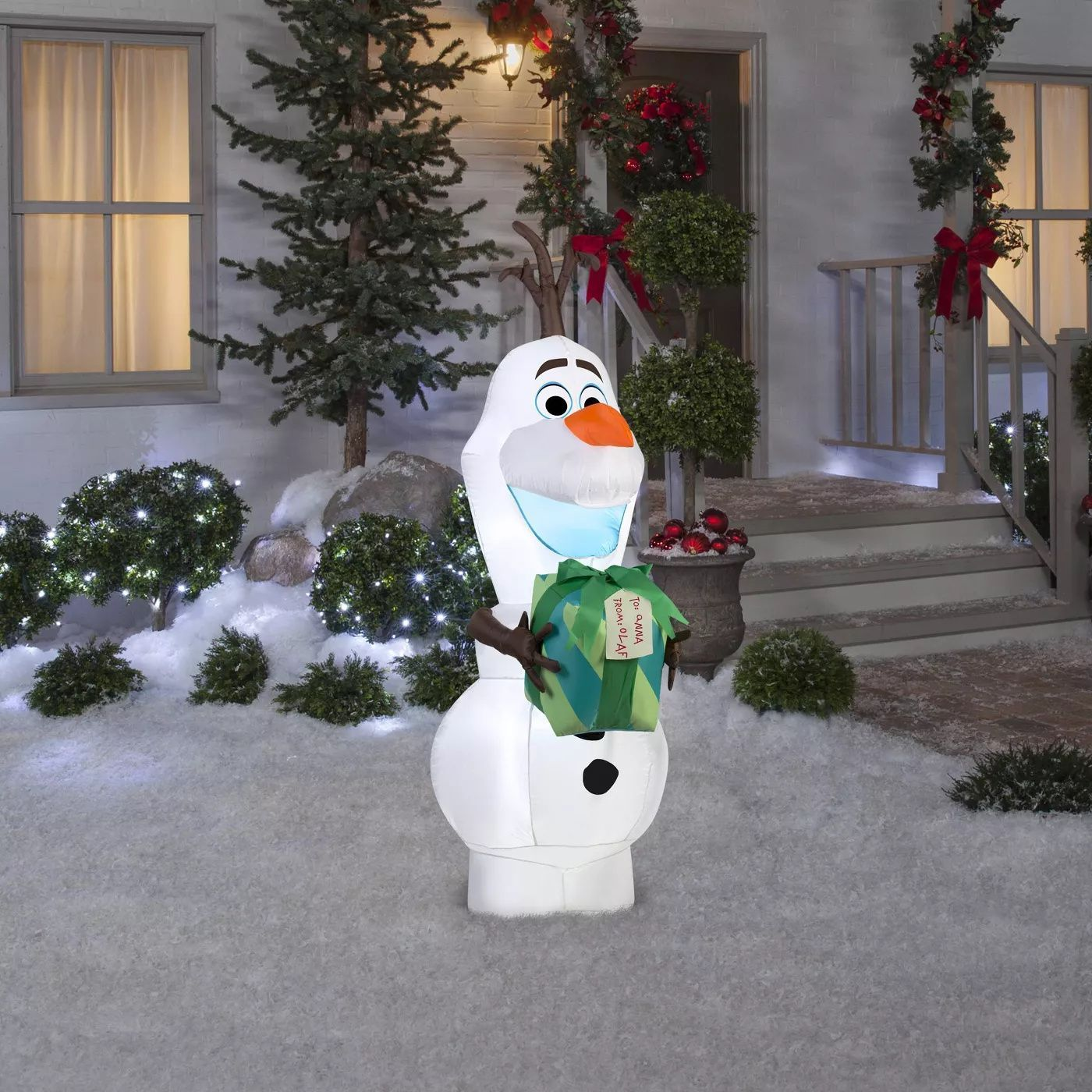 Disney Frozen Olaf With Gift Inflatable Holiday Decoration