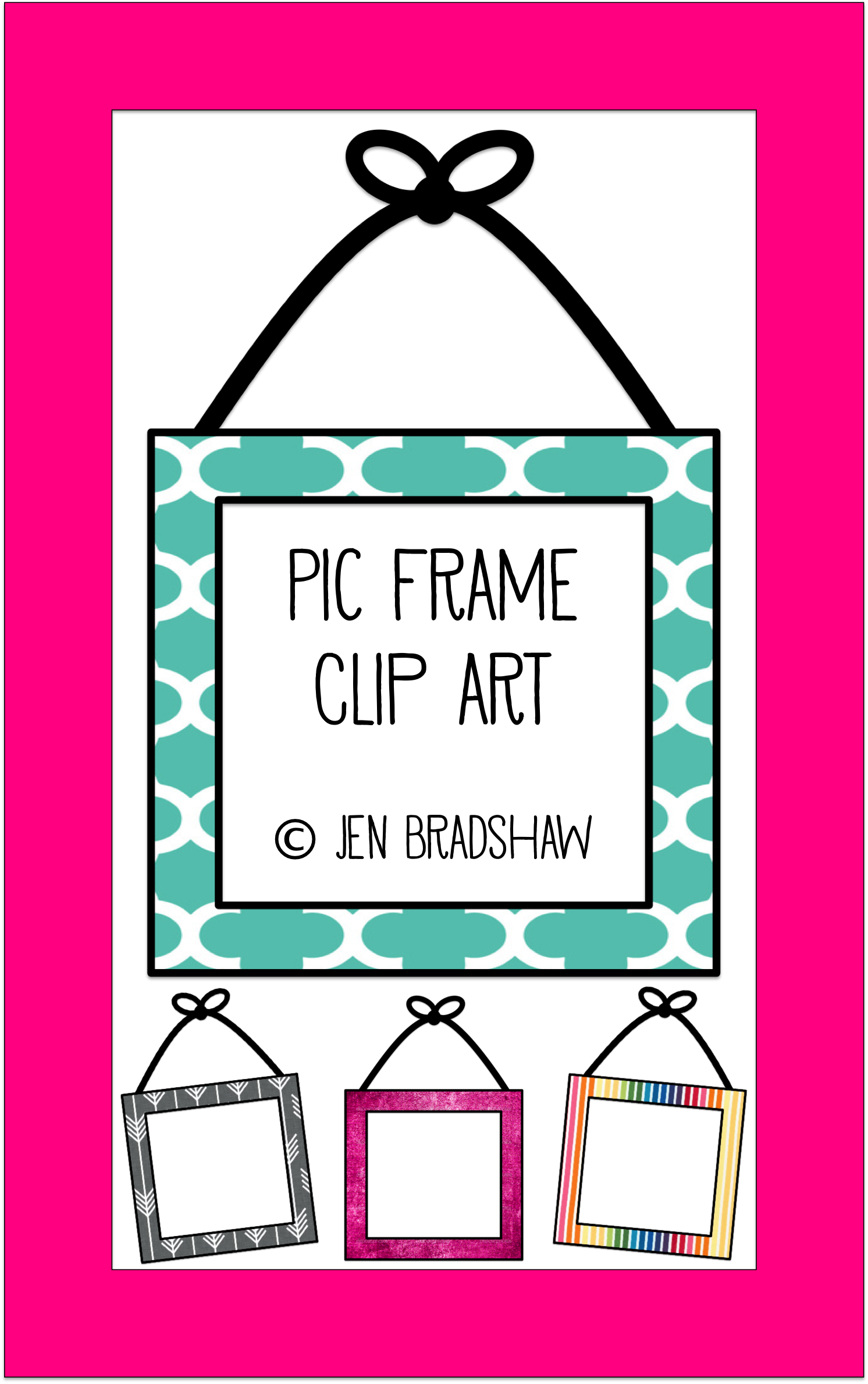 Clip Art For Teachers Picture Frame With Hanging Bow Perfect Homeschoolers