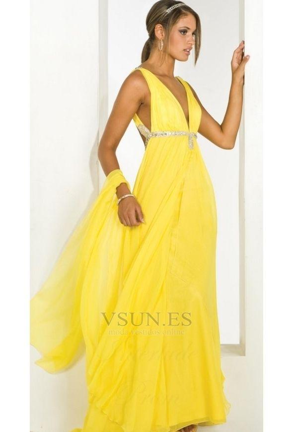 Vestido de fiesta Sin mangas Amarillo Hasta el suelo Abalorio Con Chal a8b0d939e0a0