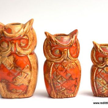 Retro Decor Set Of 3 Vintage Yellow And Orange Owls Ceramic Two Small