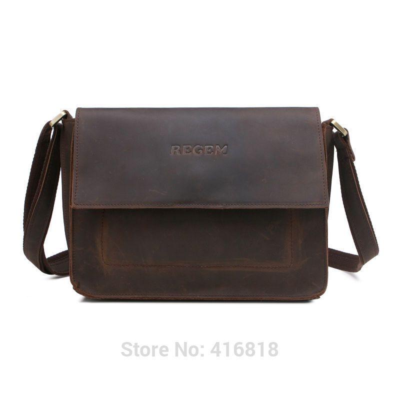 7674f3a3f08f Find More Crossbody Bags Information about REGEM Men s Real Crazy Horse Leather  Bag Vintage Shoulder Messenger