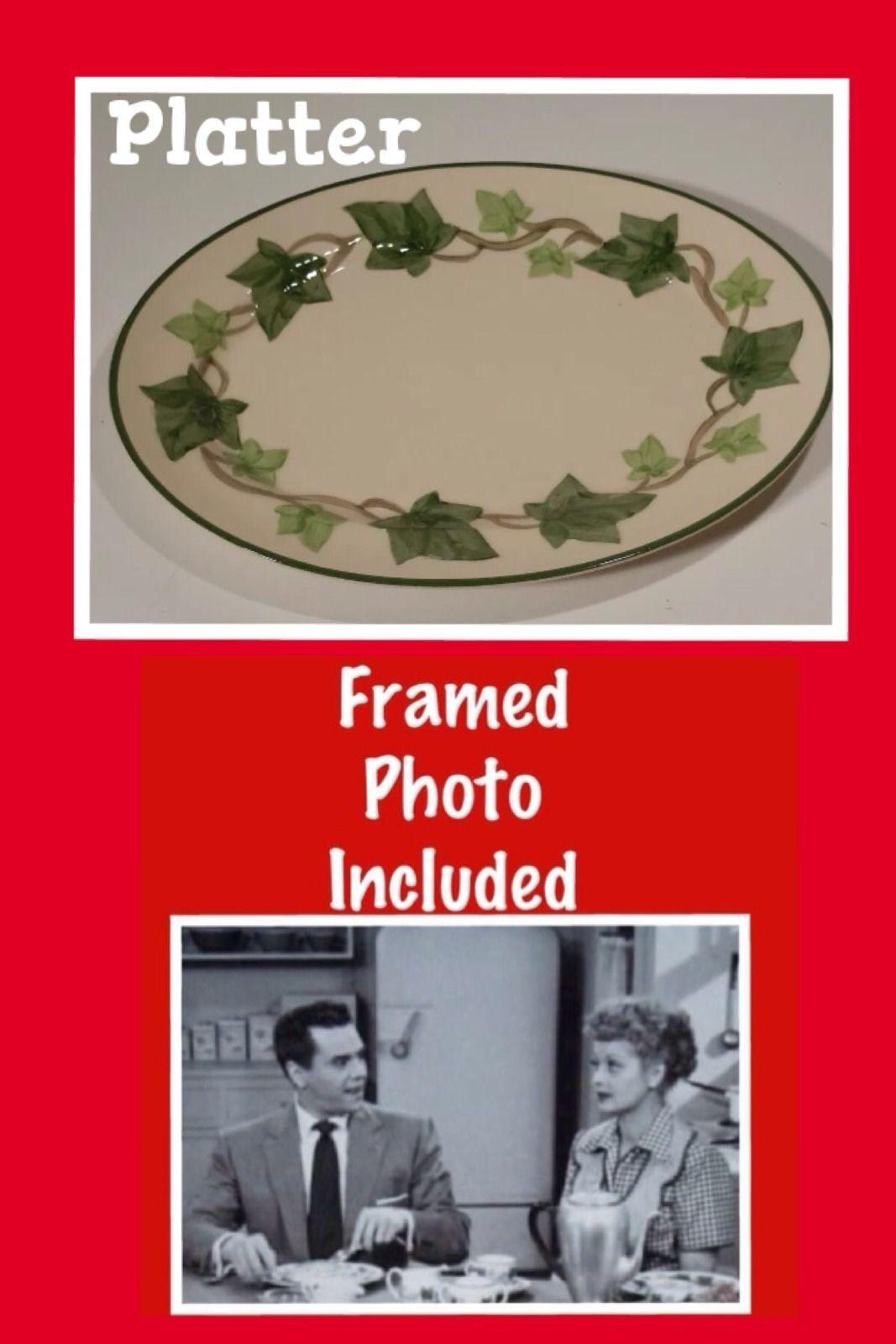 I Love Lucy Vintage Platter Franciscan Ivy China Prop Lucille Ball Plate Serving | eBay  sc 1 st  Pinterest & I Love Lucy Vintage Platter Franciscan Ivy China Prop Lucille Ball ...