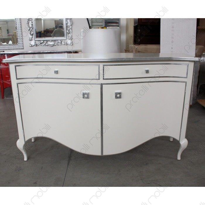 Credenza bombata a due ante in stile barocco moderno pratelli mobili white forniture white - Stile barocco mobili ...