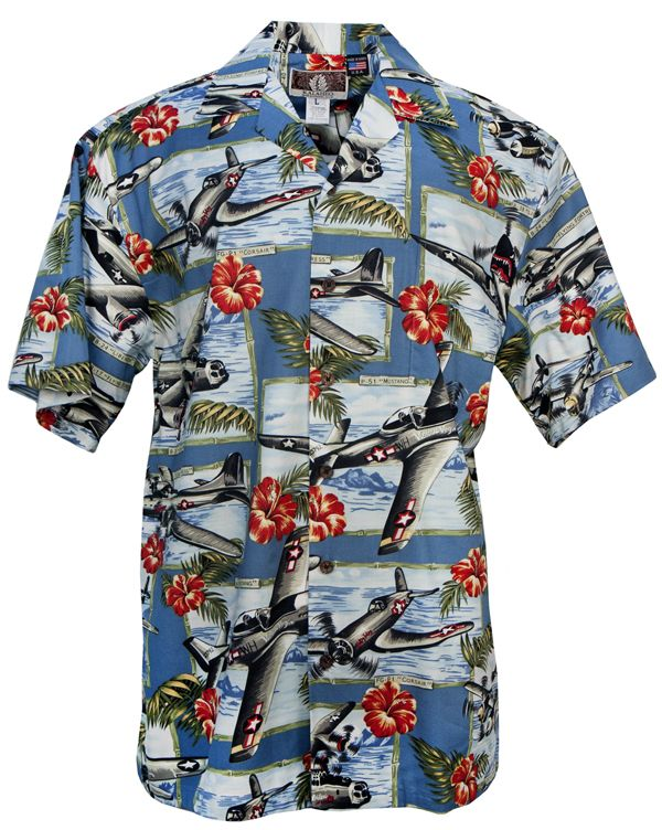2ef484d9d War Planes Hibiscus Mens Hawaiian Aloha Shirt in Blue in 2019 | Mens ...