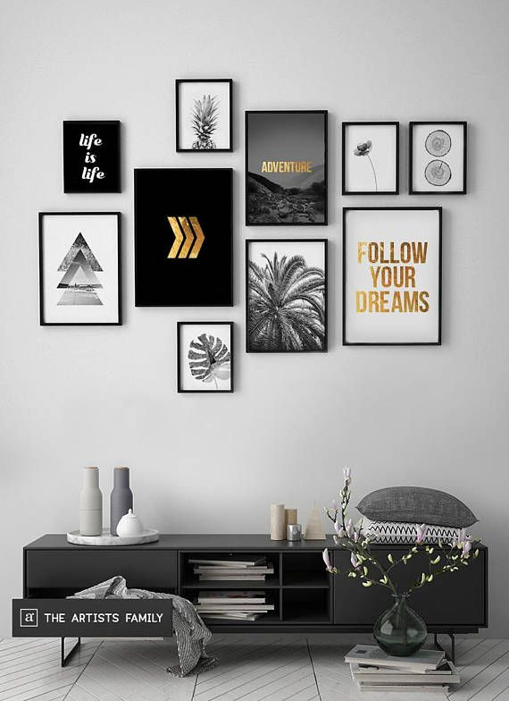 Downloadable Prints Set of 10 Minimalist Minimal Pineapple Boho Art Walls Gold Monstera Slices Botanical Flower Triangle Arrows Black White