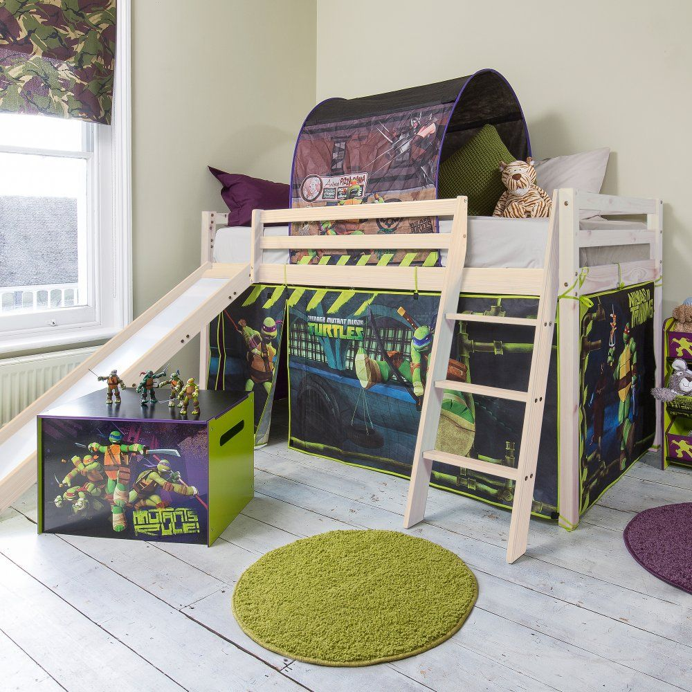 Cabin beds spiderman spiderman cabin bed with slide - Teenage Mutant Ninja Turtles Cabin Bed With Slide And Tent In Tmnt Design