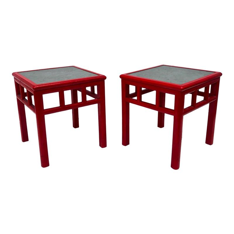 Mid Century Slate Top Designer End Table End Tables Mid Century