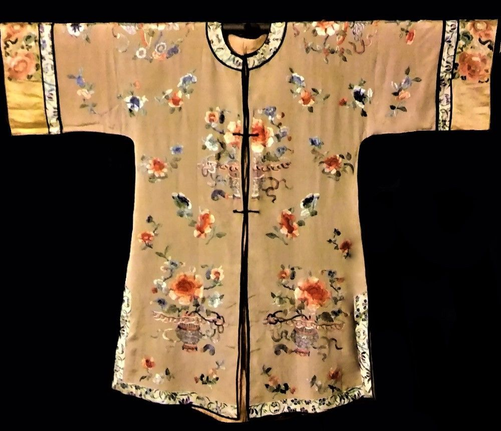 Antique 19th Chinese Silk Robe Embroidered Forbidden Knot Ching Qing Embroidery #ChingDynasty