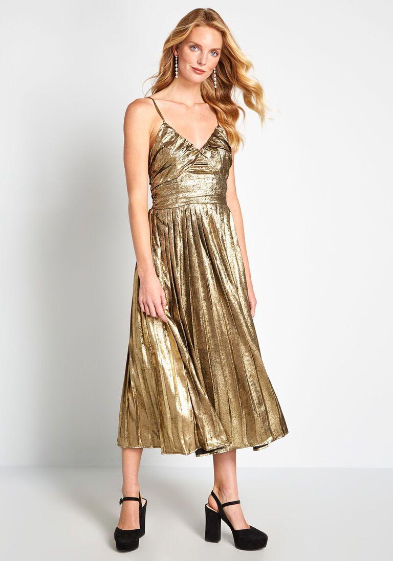70s Dresses Disco Gold Midi Dress Cotton Midi Dress Disco Dress [ 1097 x 768 Pixel ]