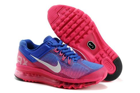 Nike Air Max+ 2013 Women's Running Shoes Shade - Blue Pink / Grey / Peach | www.IGetShoes.eu