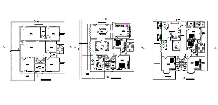 Complete Residential Bungalow Three Flooring Floor Plan Cad Drawing
