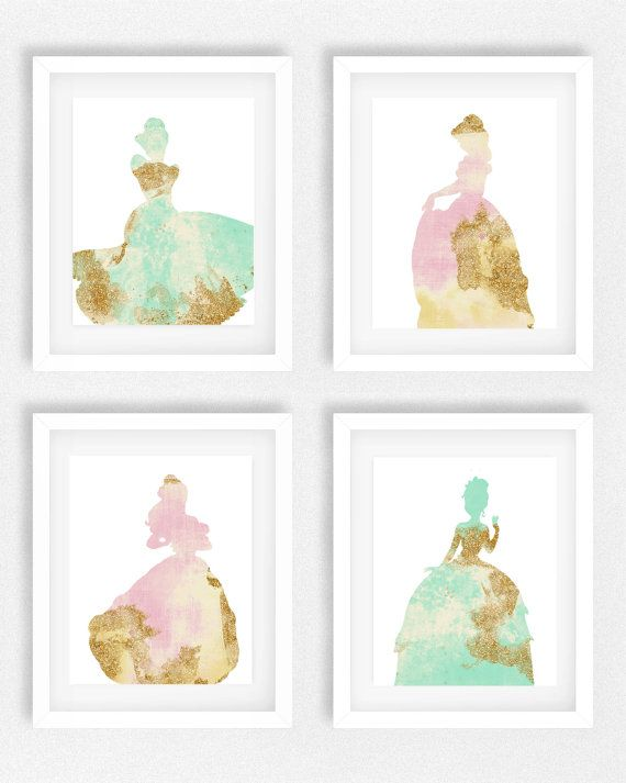 Disney, Princess, Nursery, Set Of 4, Girls Room, Princess