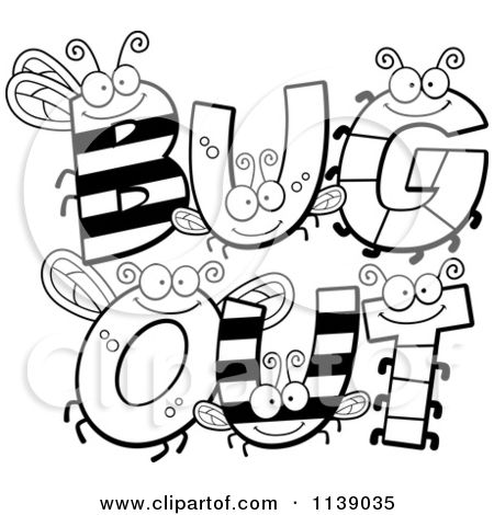 Cartoon Clipart Of Black And White Bug Letters Spelling